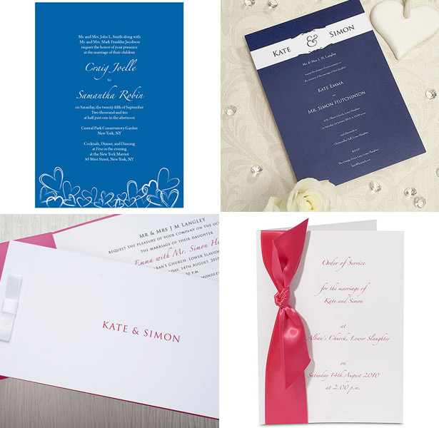 Navy and pink colour combination wedding invitations