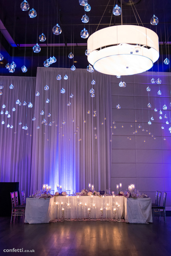 Table overhang with glass globes