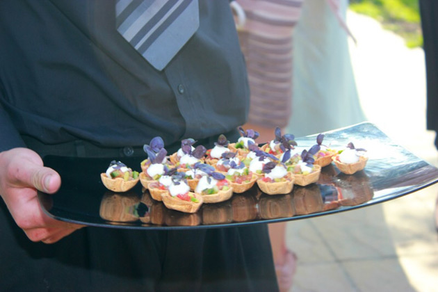 Canapés during the cocktail hour