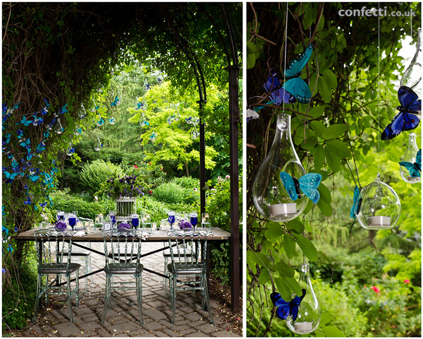 Garden themed inspired wedding with tear drop glass globe and butterflies