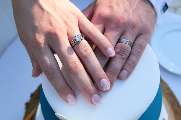 The bride and grooms wedding rings