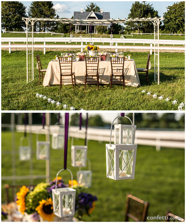 Rustic summer themed wedding table with mini white lantern overhang