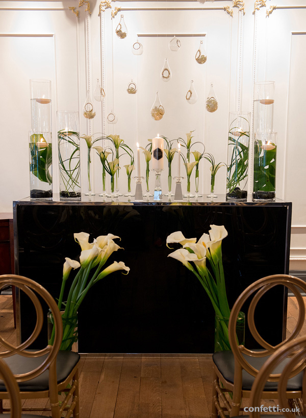 Art deco inspired table over hang with tear drop glass globes