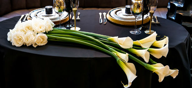 Gothic style table with calla lilies