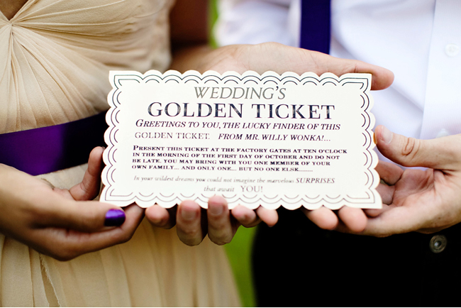 Green wedding shoes golden ticket candy sweetie