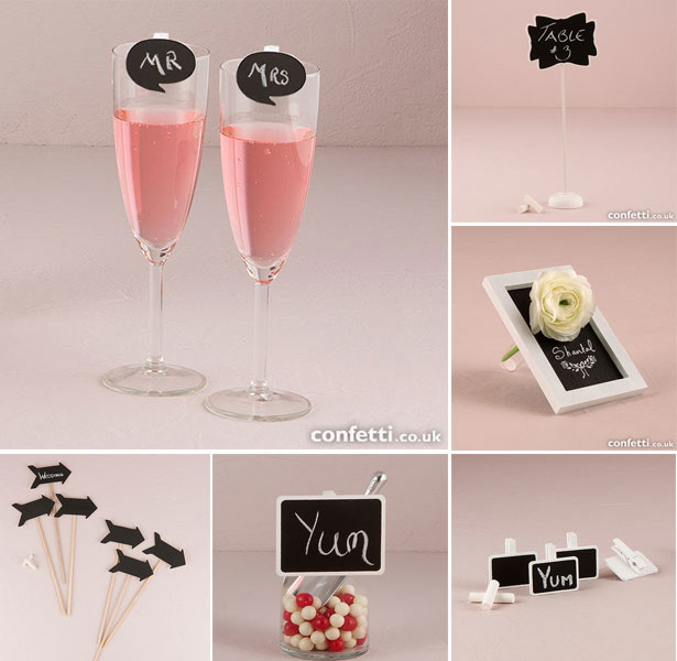 Chalk Wedding Favours Signs