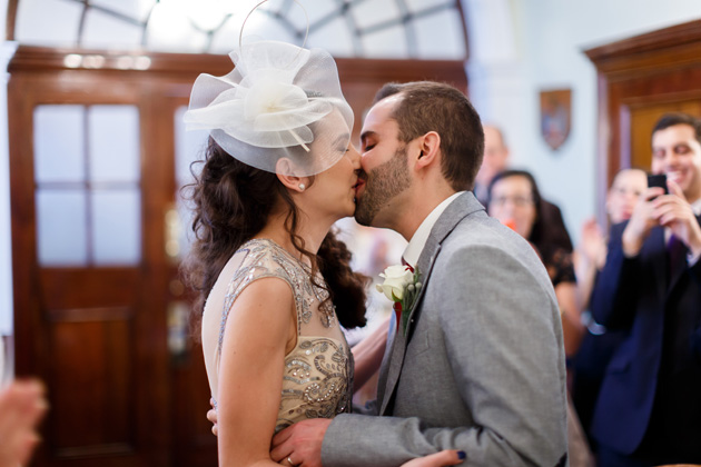 The first kiss as husband and wife  | Confetti.co.uk