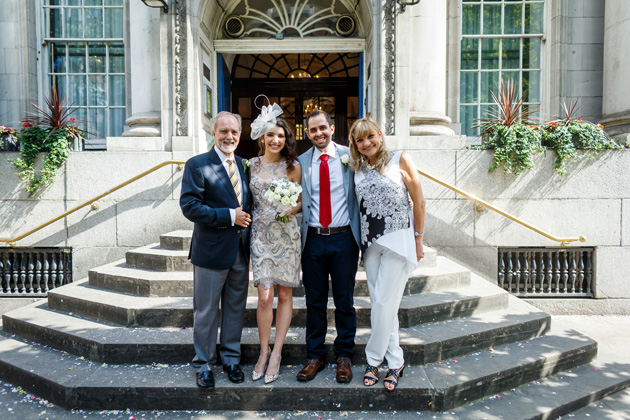 The newlyweds with their parents| Confetti.co.uk
