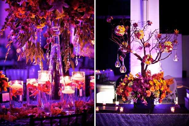 Candle lit table decor | Tree centrepiece with autumn coloured flowers | Confetti.co.uk