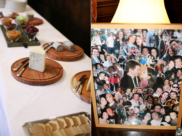 Cheese and crackers table, and a collection of images of the bride and groom | Confetti.co.uk
