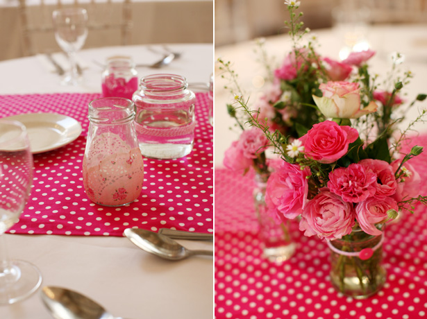 Pink flowers and polka dot themed wedding decor | Confetti.co.uk