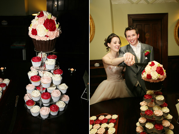 Tower of red and ivory wedding cupcakes | Confetti.co.uk