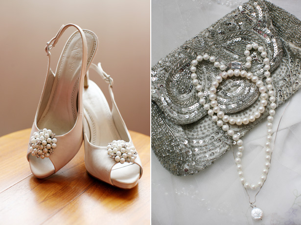 Bejwelled bridal accessories: peep toe shoes, clutch and pearl bracelet and necklace | Confetti.co.uk