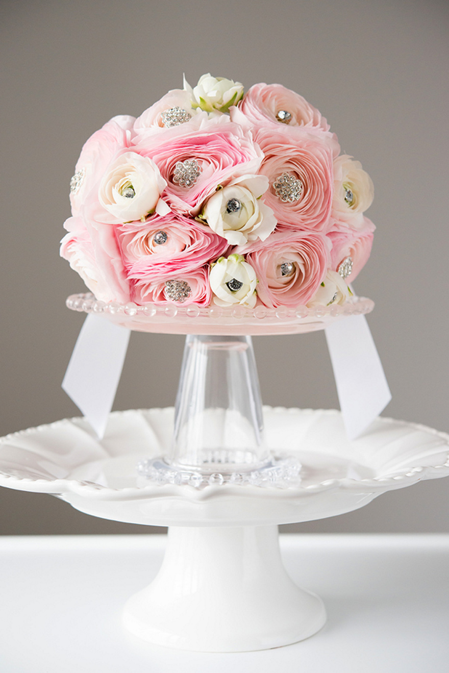 Round Sparkling Pink and Ivory Wedding Bouquet | Confetti.co.uk