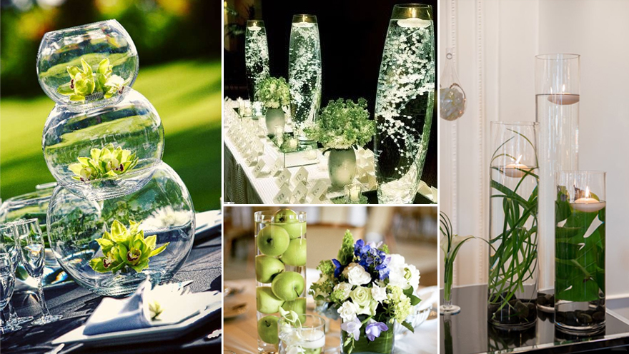 Green Centrepieces with Water | Confetti.co.uk