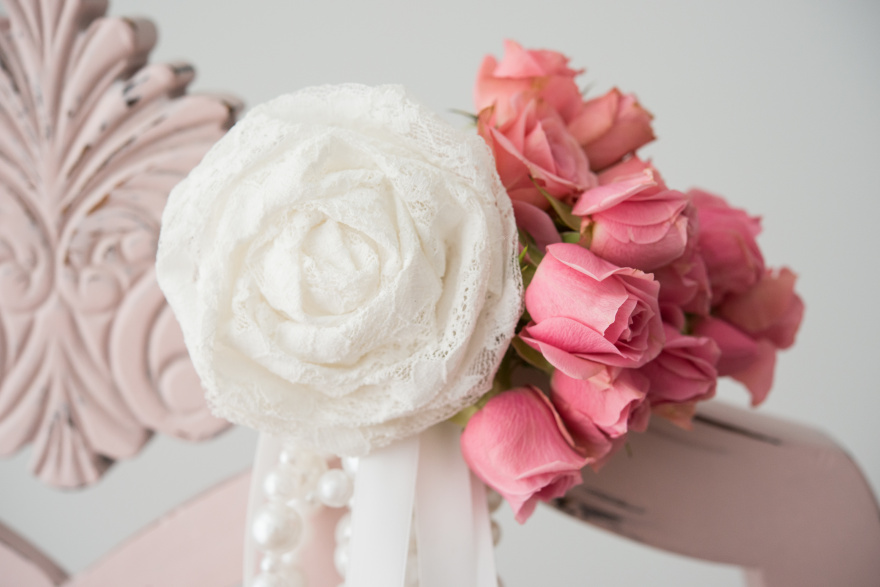Lace Pearls and Roses Chair Decoration | Confetti.co.uk