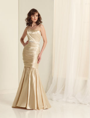Fishtail golden bridesmaid dress by Sophia Tolli