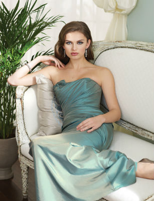 Blue stapless bridesmaid dress by Sophia Tolli