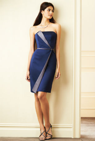 Short two-tone blue bridesmaid dress by Alfred Angelo