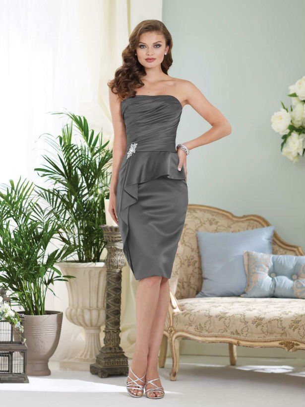 Short grey strapless bridesmaid dress by Sophia Tolli