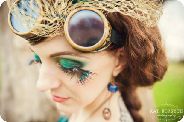 Peacock style eyes with steam punk hat photo by Kat Forsyth
