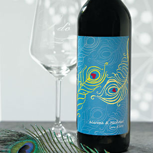 Perfect peacock wine bottle sticker label