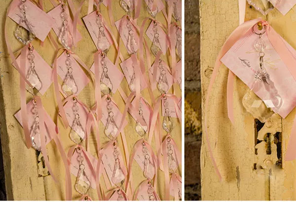 Vintage seating plan with pink ribbon and crystal drops | Confetti.co.uk