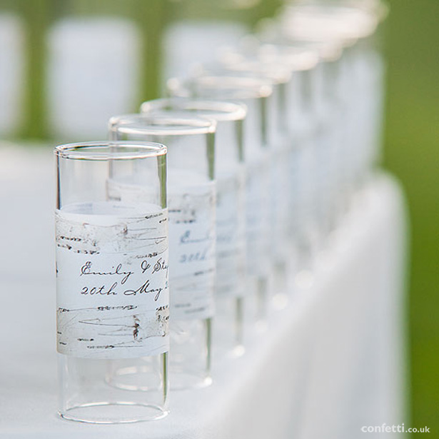 Autumn Wedding Details | Personalised candle holders | Birch wood warp for glass candle holders | Confetti.co.uk