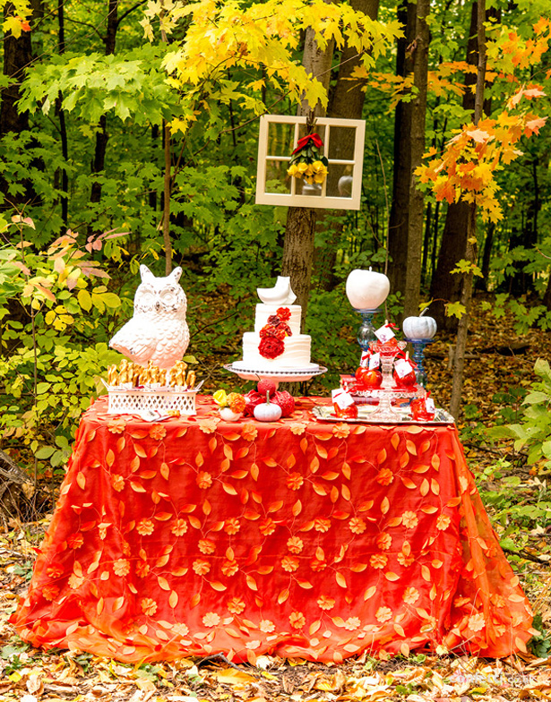 Autumn Wedding Details | Autumn and Owl inspired wedding cake table | Orange, owl and pumpkin themed wedding cake table | Confetti.co.uk