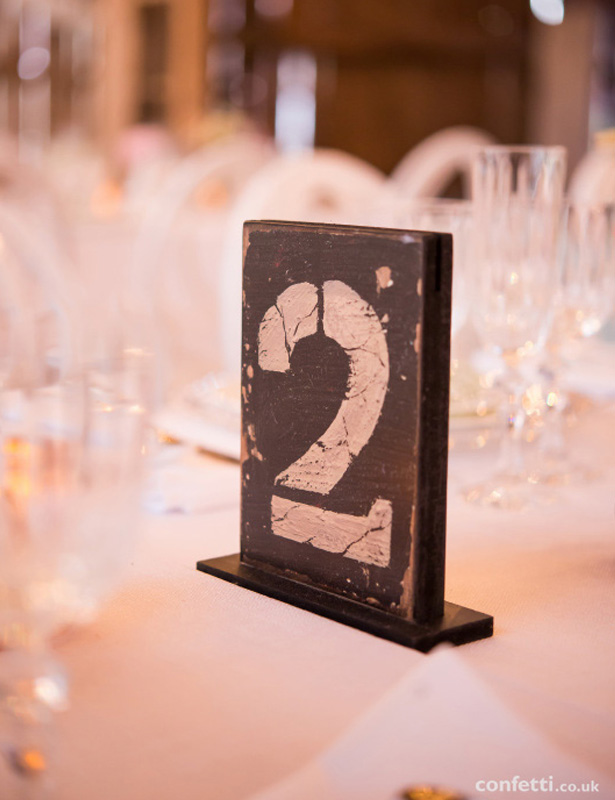 Rustic wooden table number | Wedding table decor | Barn Wedding | Confetti.co.uk
