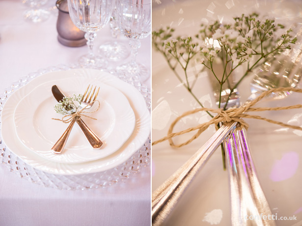 Wedding cutlery tied with string and baby's breathe | Wedding table decor idea | Barn Wedding | Confetti.co.uk