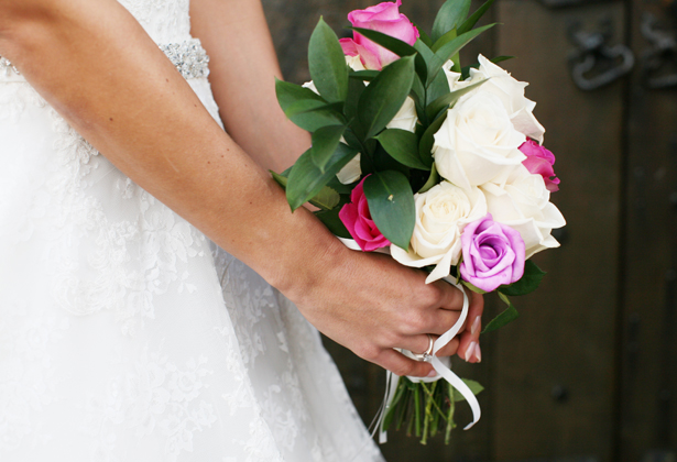 Bridal bouquet inspiration | Ivoy , lilac and pink rose wedding bouquet | Simple hand tied bouquet inspiration | Confetti.co.uk