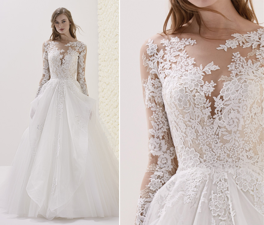 ELMINA Wedding Dress by Pronovias - Princess Wedding Dress - Long Sleeved Lace Ball Gown | Confetti.co.uk