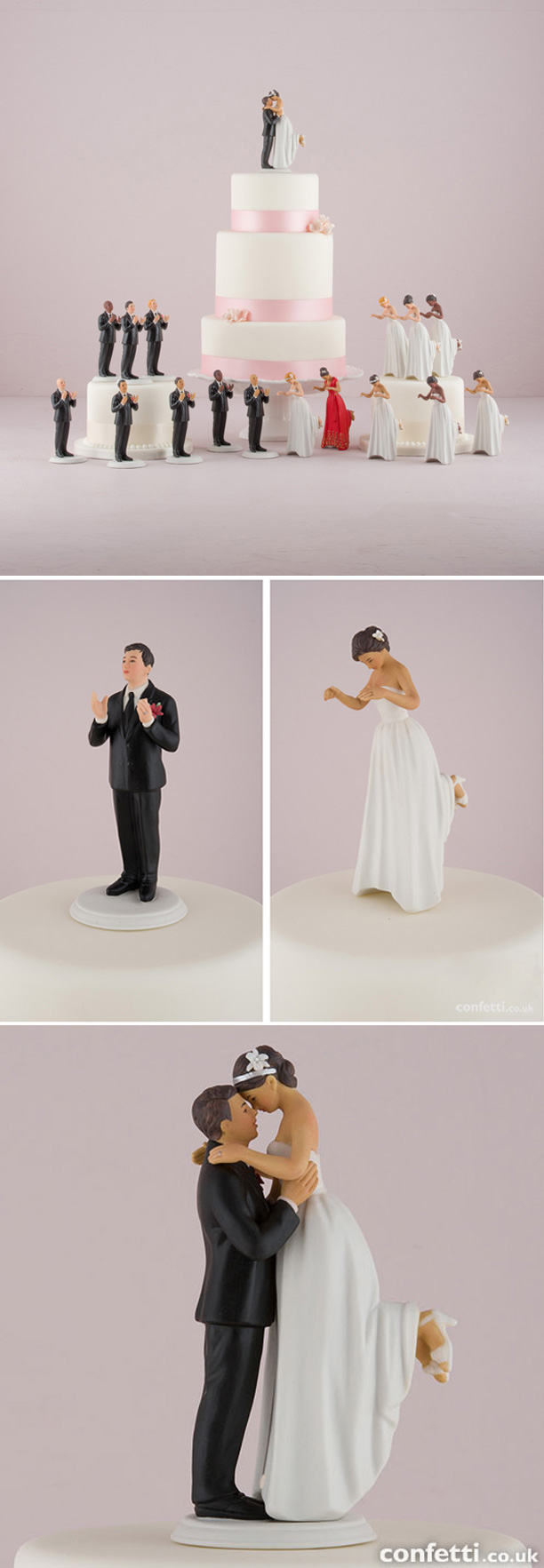 Interchangeable True Romance Bride And Groom Cake Toppers | Confetti.co.uk