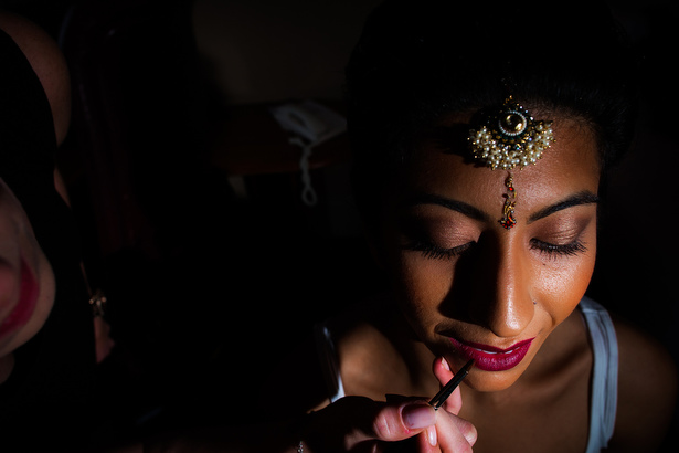 Bridal hair and make by Camilla Collins | Traditional Indian bride hair and makeup with tikkah | Confetti.co.uk