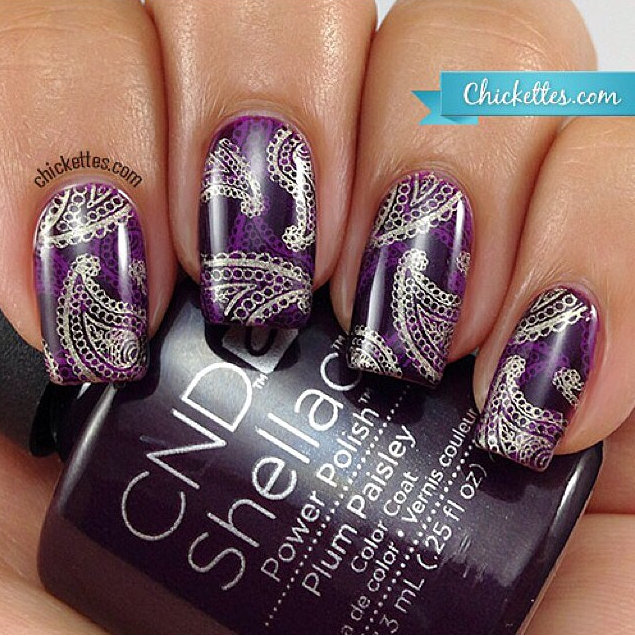 Decadent purple nail art suitable for a wedding | Confetti.co.uk