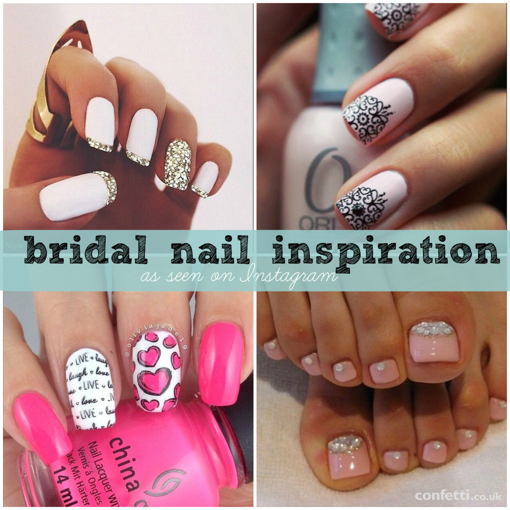 A roundup of bridal nail inspiration as seen on Instagram from Confetti.co.uk