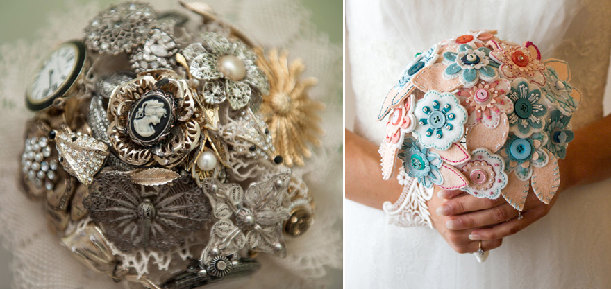 Brooch and Button Wedding Bouquets   Confetti.co.uk