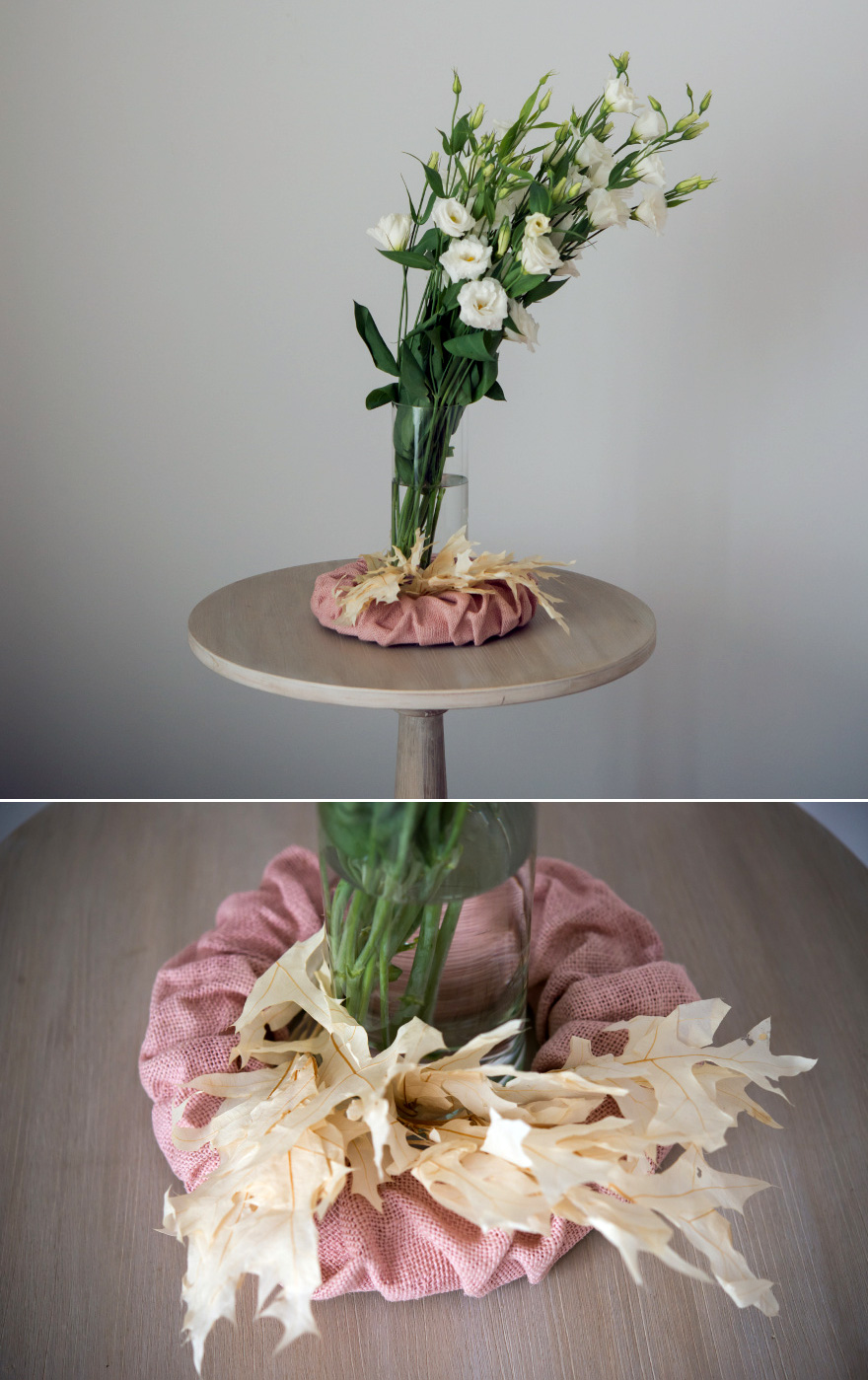 Burlap Wreath Wedding Centrepiece Idea - Pink burlap wreath as a beautiful wedding table centrepiece | Confetti.co.uk