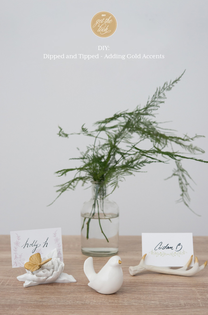 DIY Decorative Golden Accents - DIY wedding gold-accented antlers, ceramic bird, and butterfly with place cards | Confetti.co.uk