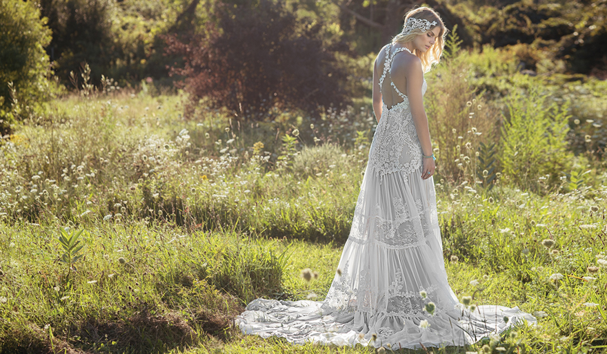Eco Friendly Wedding Dresses - Chantilly Lace and Chiffon Gown with Tiered Skirt and Criss Cross Straps - Style 6491 by Lillian West   Confetti.co.uk