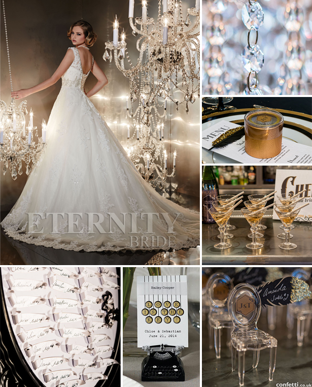 Art deco wedding theme favours and accessories with Eternity Bride's D5196 dress style | Confetti.co.uk