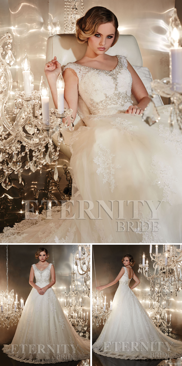 Eternity Bride Collection Wedding Dress D5196 front, side and back | Confetti.co.uk
