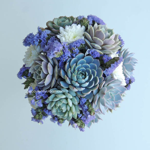 White and blue succulent wedding bouquet with flowers | Confetti.co.uk