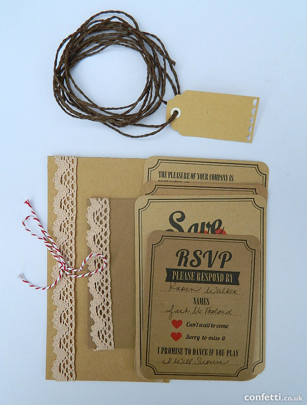 Layered brown vintage DIY wedding stationery with lace, twine, and tag   Cionfetti.co.uk