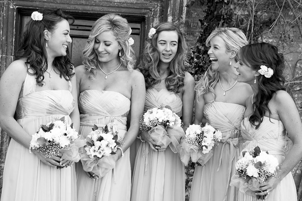 How to Choose Your Bridesmaids  | Bridesmaids in strapless satin wedding dress | Confetti.co.uk