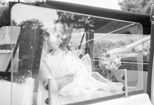 Bride with her father in a vintage Rolls Royce  | Becki and Rob's Real Wedding By Jenny Martin Photography | Confetti.co.uk