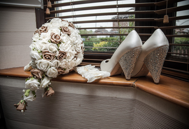 Foam white and brown rose bridal bouquet | White bridal shoes with detailed heel| Lace 'Mrs' white garter| Becki and Rob's Real Wedding By Jenny Martin Photography | Confetti.co.uk