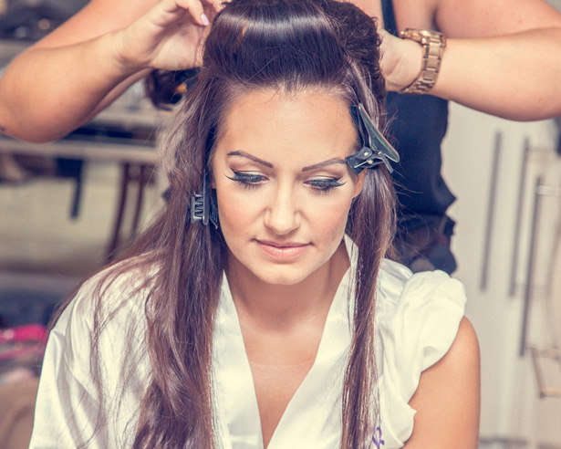 Bride having her hair done for her big day | Becki and Rob's Real Wedding By Jenny Martin Photography | Confetti.co.uk