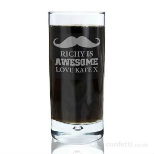 Christmas gift Personalised moustache glass
